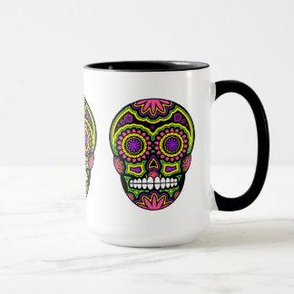 Färgrik mexicansk sockerskalleday of the dead mugg