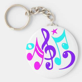 Färgrik musik noter rund nyckelring
