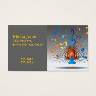 Färgrik musik noterpåfågel visitkort