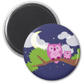 Färgrik nattuggla magnet