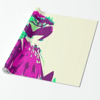 Färgrik papegojafågel för exotiskt neon presentpapper