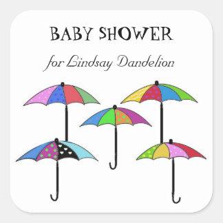 Färgrik paraplybaby shower fyrkantigt klistermärke