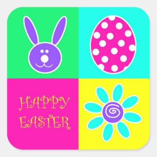 Färgrik påsk fyrkantigt klistermärke