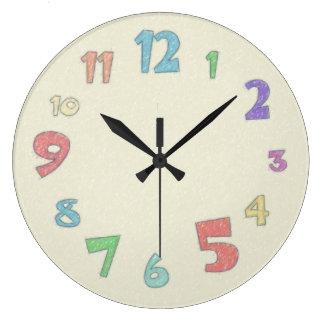 Färgrik pastell stor rund klocka