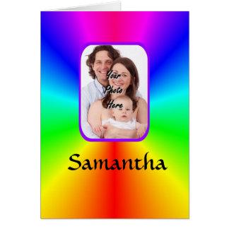 Färgrik personligfotobakgrund hälsningskort