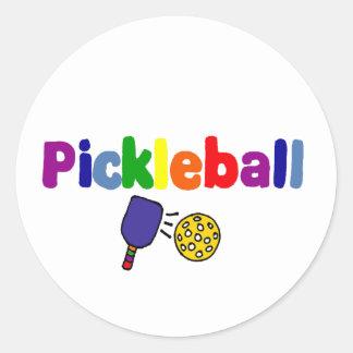 Färgrik Pickleball konstdesign Runt Klistermärke