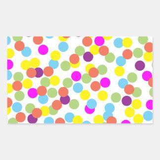 Färgrik polka dots på vit rektangulärt klistermärke