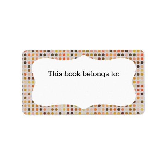 """Färgrik polka dots, """"som denna bok hör hemma till"""" adressetikett"""