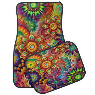 Färgrik Psychedelic designuppsättning av 4 Bilmatta
