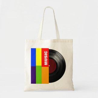 färgrik randmusikvinyl budget tygkasse