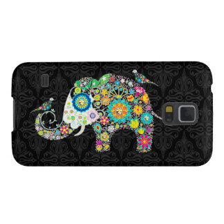 Färgrik Retro blom- elefant & fåglar Galaxy S5 Fodral