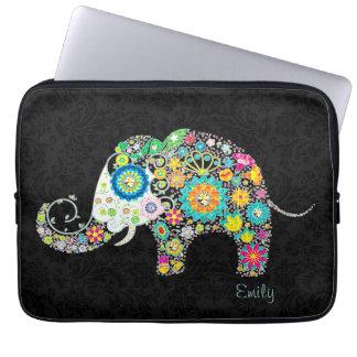 Färgrik Retro blom- elefant Laptopskydd