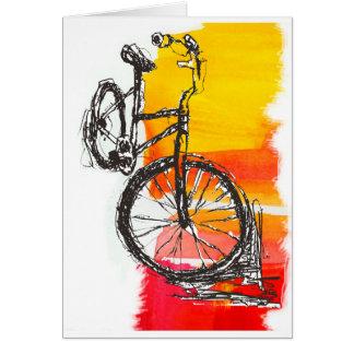 Färgrik röd cykel hälsningskort