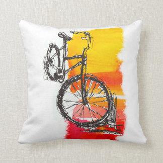 Färgrik röd cykelteckning kudde