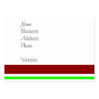 Färgrik röd görat randig mönster för orangegrönt set av breda visitkort
