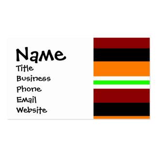 Färgrik röd görat randig mönster för orangegrönt set av standard visitkort