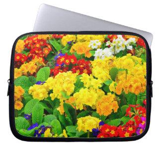 Färgrik röd, gul purpurfärgad vit blommar laptop sleeve