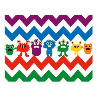 Färgrik rolig görat randig mönster för monster vykort