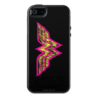 Färgrik rosa- och gultlogotyp för undra kvinna OtterBox iPhone 5/5s/SE skal