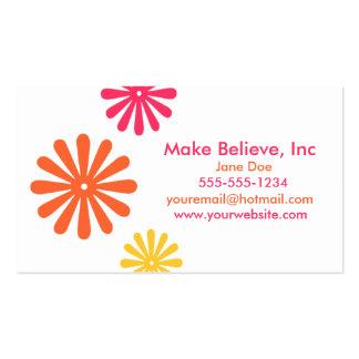 Färgrik rosa orange och gula blommor set av standard visitkort