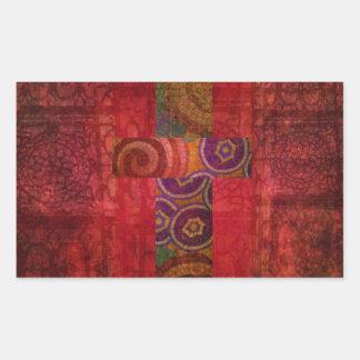 Färgrik samtida kristen mosaikkorkonst rektangulärt klistermärke