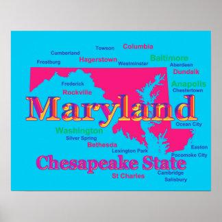 Färgrik Silhouette för Maryland statlig pridekarta Poster