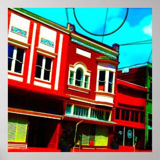 Färgrik skyltfönster affisch