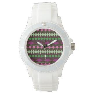 Färgrik stam- geometrisk mönsterdesign armbandsur