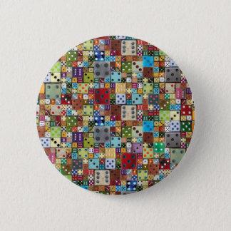 Färgrik tärning standard knapp rund 5.7 cm