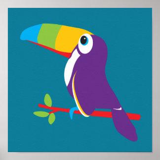 Färgrik toucan grafisk ungebarnkammarekonst poster
