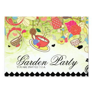 Färgrik trädgårds- partyinbjudningskort för 12,7 x 17,8 cm inbjudningskort