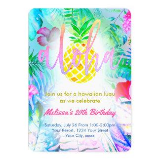 färgrik tropisk födelsedagsfest 12,7 x 17,8 cm inbjudningskort