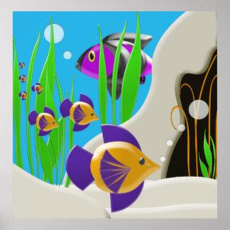Färgrik undervattens- konst för fiskaffischvägg