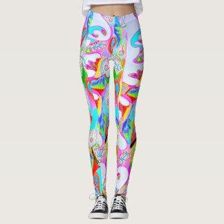Färgrik utskrivaven abstrakt designdamasker leggings