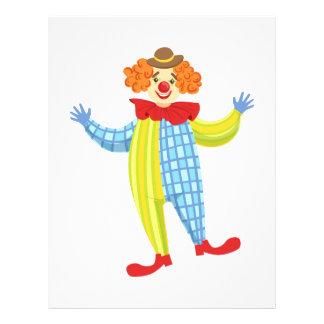 Färgrik vänlig clown i den Derby hatten och Brevhuvud