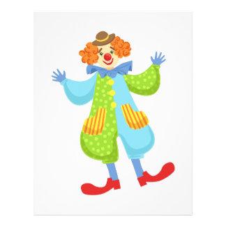 Färgrik vänlig clown i plommonstop i brevhuvud