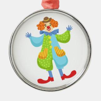 Färgrik vänlig clown i plommonstop i julgransprydnad metall