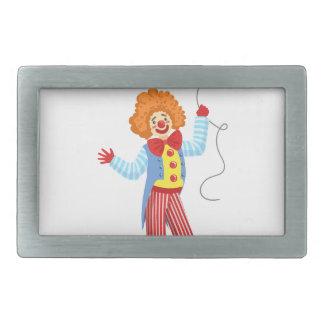 Färgrik vänlig clown med ballongen i klassikerOu