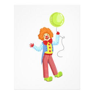 Färgrik vänlig clown med ballongen i klassikerOu Brevhuvud