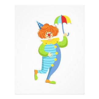 Färgrik vänlig clown med det mini- paraplyet brevhuvud