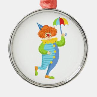 Färgrik vänlig clown med det mini- paraplyet julgransprydnad metall