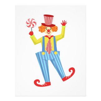 Färgrik vänlig clown med Lollypop i klassikernolla Brevhuvud