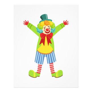 Färgrik vänlig clown med multifärgad brevhuvud