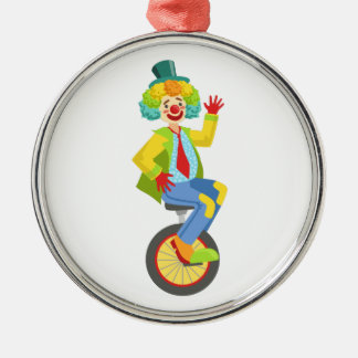 Färgrik vänlig clown med regnbågewigen i Classi Julgransprydnad Metall