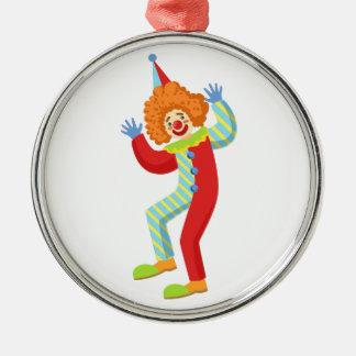 Färgrik vänlig clown som utför i klassikern Outf Julgransprydnad Metall