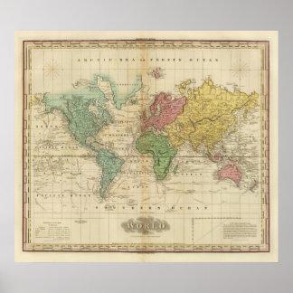 Färgrik världskarta poster
