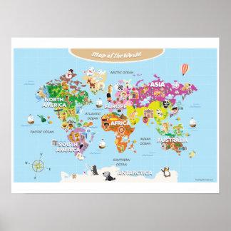 Färgrik världskartaför barn - som är gullig och affisch