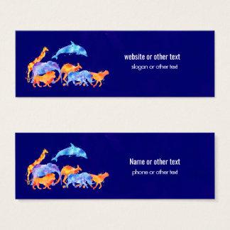 Färgrik vattenfärg för vilda djurspring litet visitkort