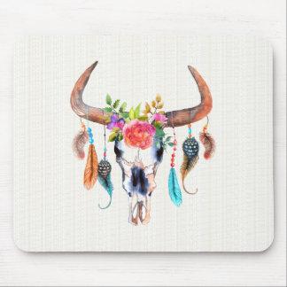 Färgrik vattenfärgBisonskalle med Horns Musmattor