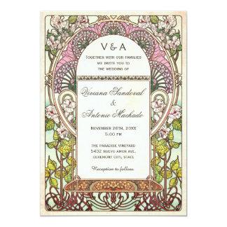 Färgrik vintage bröllopinbjudanart nouveau 12,7 x 17,8 cm inbjudningskort